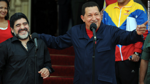 Venezuelan President Hugo Chavez (R) shares a laugh with Argentina's national football team coach Diego Maradona (L), at a press conference during which Chavez announced that Venezuela breaks relations with Colombia, at Miraflores presidential palace in Caracas, on July 22, 2010. Chavez said Thursday his government has broken off diplomatic relations with Colombia after it charged that Colombian guerrilla leaders were in Venezuela. AFP  PHOTO/Juan BARRETO        (Photo credit should read JUAN BARRETO/AFP/Getty Images)