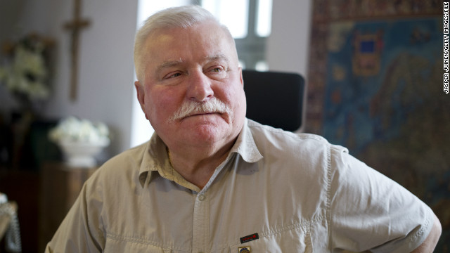 Former Polish President and Nobel Peace Laureate Lech Walesa listens while speaking with journalists at his office on June 20, 2012 in Gdansk, Poland.