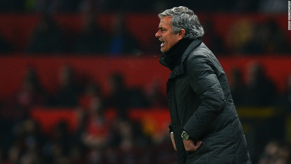 An agitated Jose Mourinho urges his team on during the first half at Old Trafford.