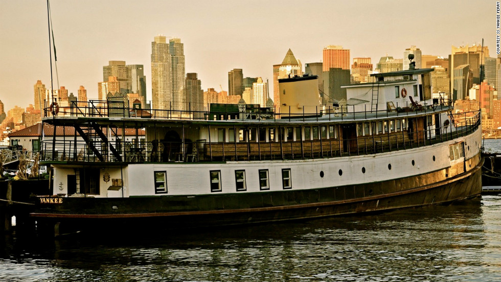 In her previous life, the 1907 SS Yankee Ferry transported new immigrants from Ellis Island to New York City. Today, she has been converted into a floating hotel, permanently moored in the Hudson River.