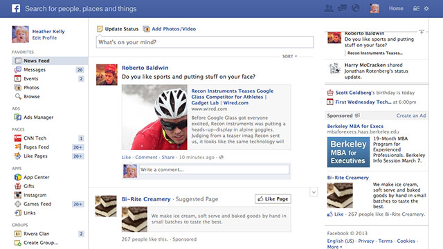 Facebook's News Feed before the big redesign.