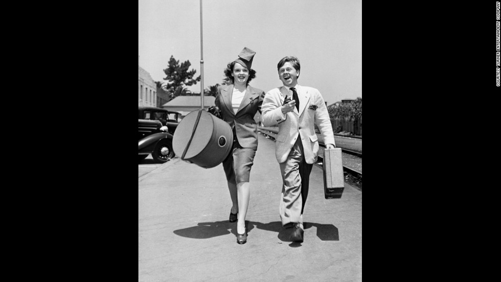 "Judy Garland and Mickey Rooney set out for a ""Wizard of Oz"" tour at a Pasadena, California, train station in 1939."