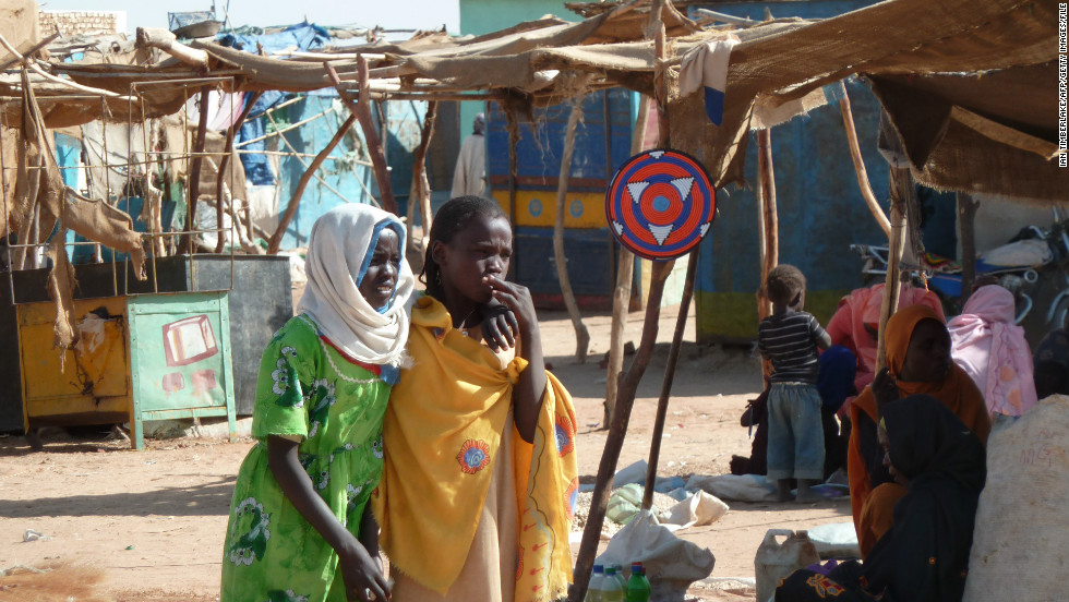 The Darfur conflict began in 2003. The U.N. estimates that by 2008, 300,000 people had been killed, and more than 3 million displaced.<br />Pictured, two girls in the Abushouk camp for internally displaced persons, in North Darfur, in January 2012.