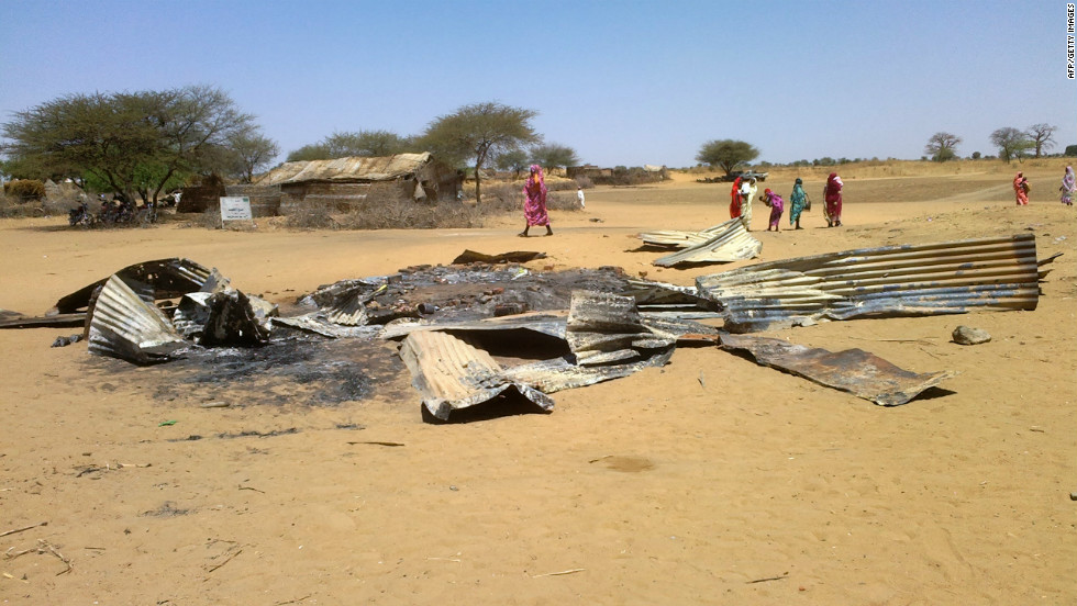 Pictured, the remains of a house in Derib al Reih village, South Darfur, that was reportedly destroyed by the Sudanese air force in February 22, 2013.
