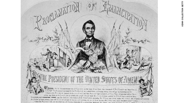 Lithograph commemorating president Abraham-Lincoln's 1862 Emancipation Proclamation freeing slaves in the Confederate states, 1865.