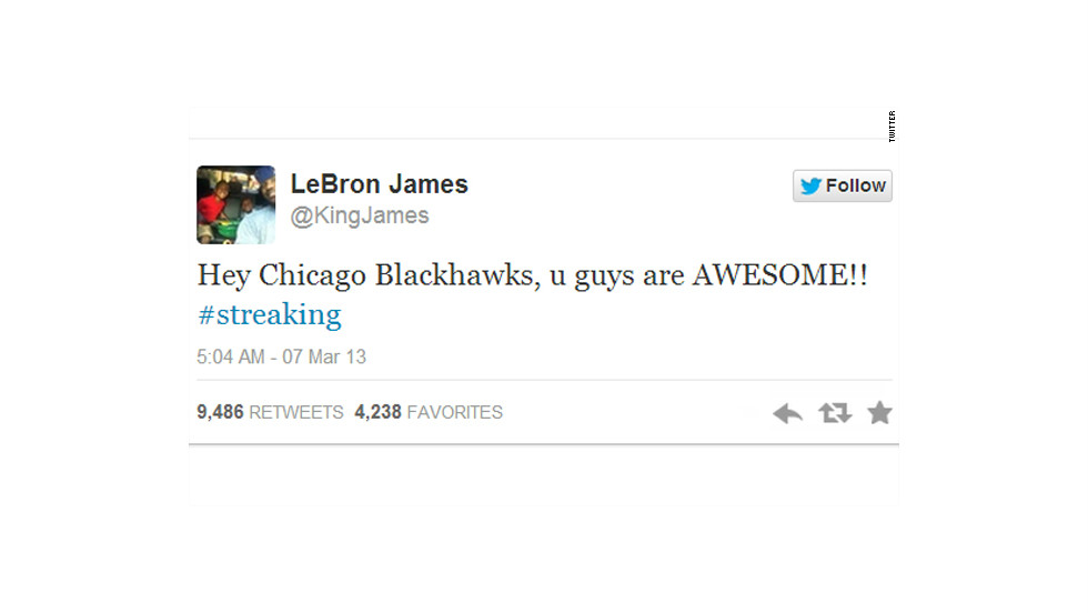 NBA champion LeBron James even tweeted out his respect for the Blackhawks.