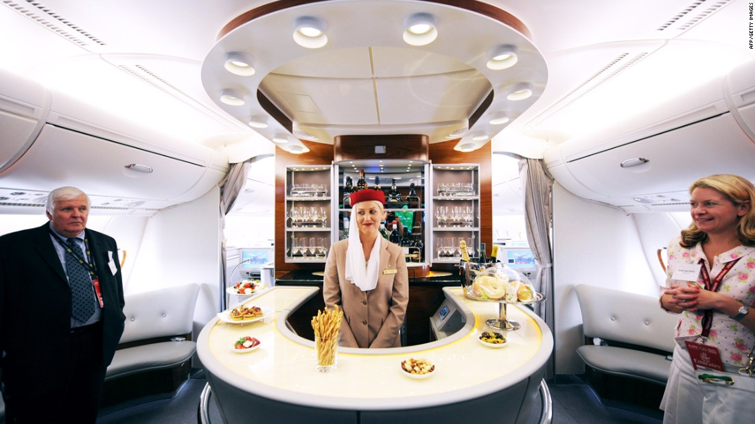 The A380's size means it can easily accommodate a lounge bar, such as this one offered by Emirates. Other airlines have promised gyms or casinos, but haven't delivered.