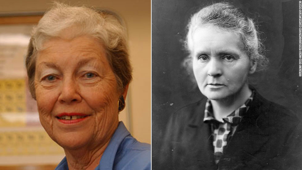 "Nuclear chemist <a href=""http://www.chemheritage.org/discover/online-resources/chemistry-in-history/themes/atomic-and-nuclear-structure/hoffman.aspx"" target=""_blank"">Darleane Hoffman</a>, left, specializes in heavy elements like plutonium. She was part of a team that focused on confirming the discovery of Seaborgium, element 106. Her research has revealed new aspects of fission and atomic processes, and she was awarded the National Medal of Science in 1997. The discoveries of  <a href=""http://www.nobelprize.org/nobel_prizes/physics/laureates/1903/marie-curie-bio.html"" target=""_blank"">Marie Curie</a> (1867-1934) were similarly focused: Her observations of radiation suggested a relationship between radioactivity and the heavy elements of the periodic table. Curie's painstaking research with her husband, Pierre, culminated in the isolation of two new, heavy elements -- polonium, which they named for Marie's homeland, and the naturally glowing radium."