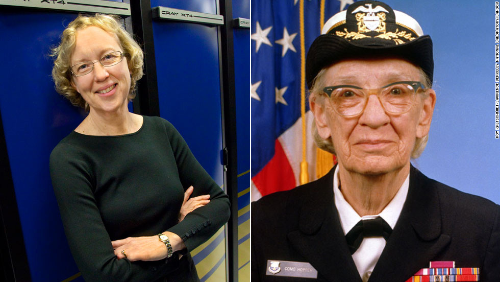 "Grace Murray Hopper, an American computer scientist and U.S. Navy Rear Admiral (right), created Common Business-Oriented Language (COBOL.) She also coined the term ""debugging"" in reference to fixing a computer.<br /><br />Hopper paved the way for other females in computer science, including University of California at Berkeley Professor <a href=""https://www.nersc.gov/news-publications/news/nersc-center-news/2007/prof-kathy-yelick-named-new-director-for-doe-s-national-energy-research-scientific-computing-center/"" target=""_blank"">Katherine Yelick</a>.  She is the co-author of two books and more than 100 technical papers on parallel languages, compilers, algorithms, libraries, architecture, and storage. She led the National Energy Research Scientific Computing Center from 2008 to 2012 -- a high-performance computing facility that helps scientists run tests. One of the computers in the facility is named after Hopper."
