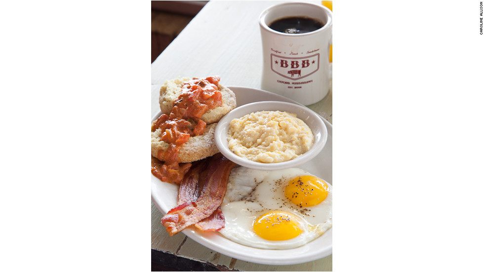 "Southern chef John Currence's motto? ""Lard have mercy!"" Flour biscuits slathered with sausage gravy and the burrito filled with house-made chorizo will have you praying for more. <a href=""http://www.bigbadbreakfast.com"" target=""_blank"">bigbadbreakfast.com</a>. $"
