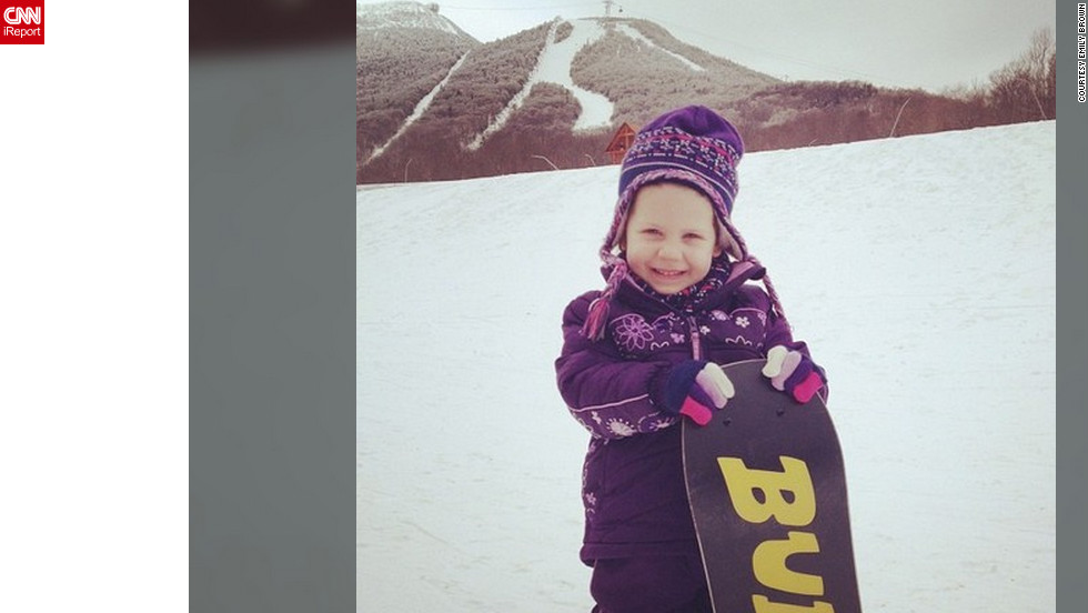 "<a href=""http://ireport.cnn.com/docs/DOC-938304"">Emily Brown </a>says she and her family spent their snow day hitting the slopes in Jay, Vermont. ""We don't get to come to Jay very often, but getting my daughter on a board for the very first time has been the most amazing experience,"" she said. Her favorite part of the day was being with her family and ""doing what we love all together,"" she said."