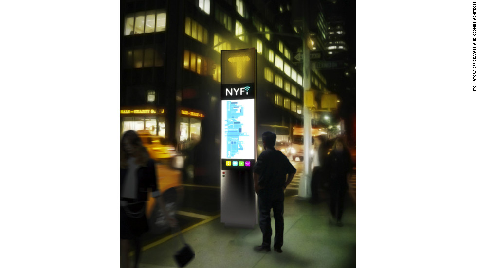 "The ""NYfi"" phone box was designed by Sage and Coombe Architects and aims to serve as a hub for free wireless internet access as well as an interactive portal for public information, goods, and services."