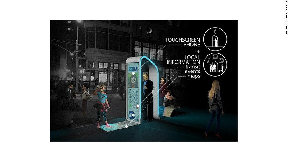 "The ""NYC Loop"" offers a hi-tech private space for users to make video calls while an ""information puddle"" projected onto the sidewalk can be used to display advertisements or interactive artworks."
