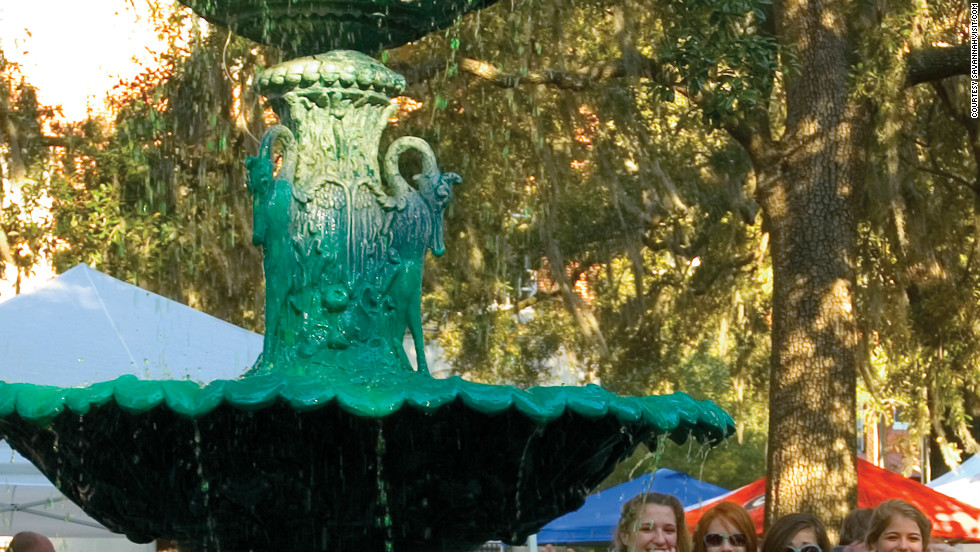 Fountains and beer taps are dyed green to mark St. Patrick's Day in Savannah, Georgia.
