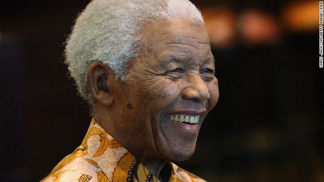 Nelson Mandela smiles at a charity lunch in April 2009 in Cape Town, South Africa.