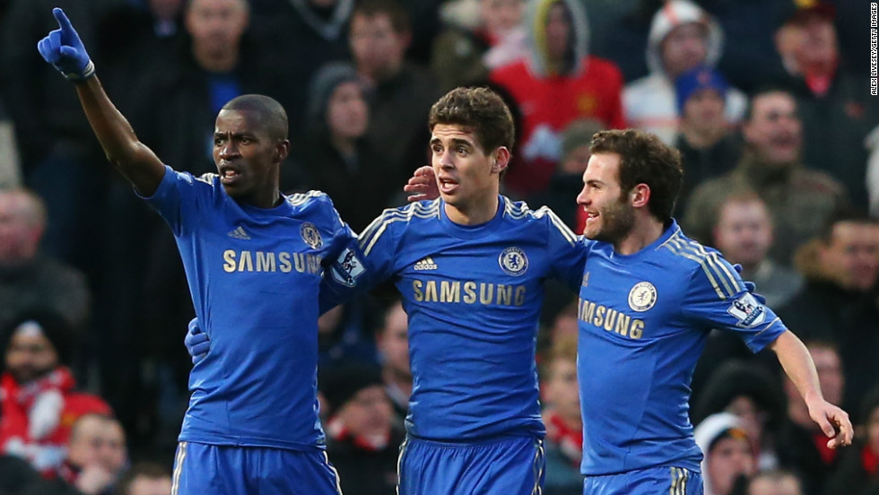 Ramires (L) celebrates after his equalizer at Old Trafford earned Chelsea an FA Cup quarterfinal replay against Manchester United.