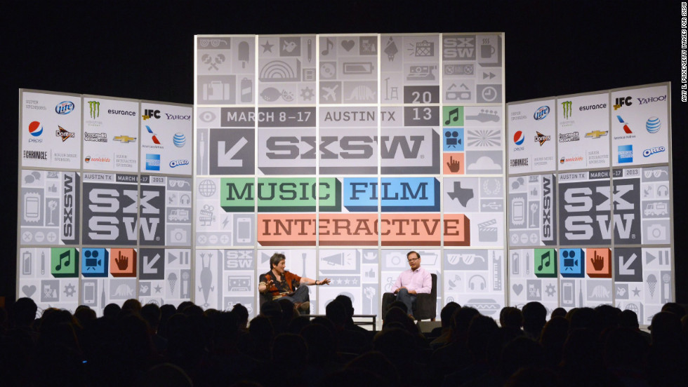 Venture capitalist Guy Kawasaki, left, and Amit Singhal of Google speak onstage at the Andy Rubin conversation with Guy Kawasaki on March 10.
