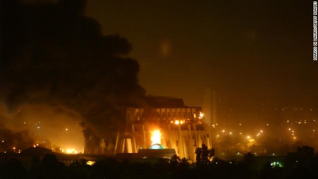 U.S. missiles hit Baghdad March 21, 2003.