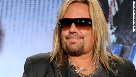 Singer Vince Neil speaks onstage to announce their upcoming Motley Crue and KISS co-headlining tour at the Hollywood Roosevelt Hotel on March 20, 2012 in Los Angeles, California