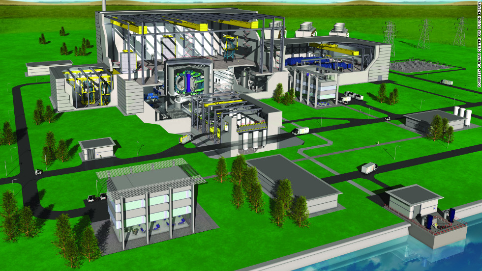 "A CGI of how fusion power plants of the future might be laid out. For more details on fusion power visit the <a href=""http://www.ccfe.ac.uk/introduction.aspx"" target=""_blank"">Culham Center for Fusion Energy</a>."