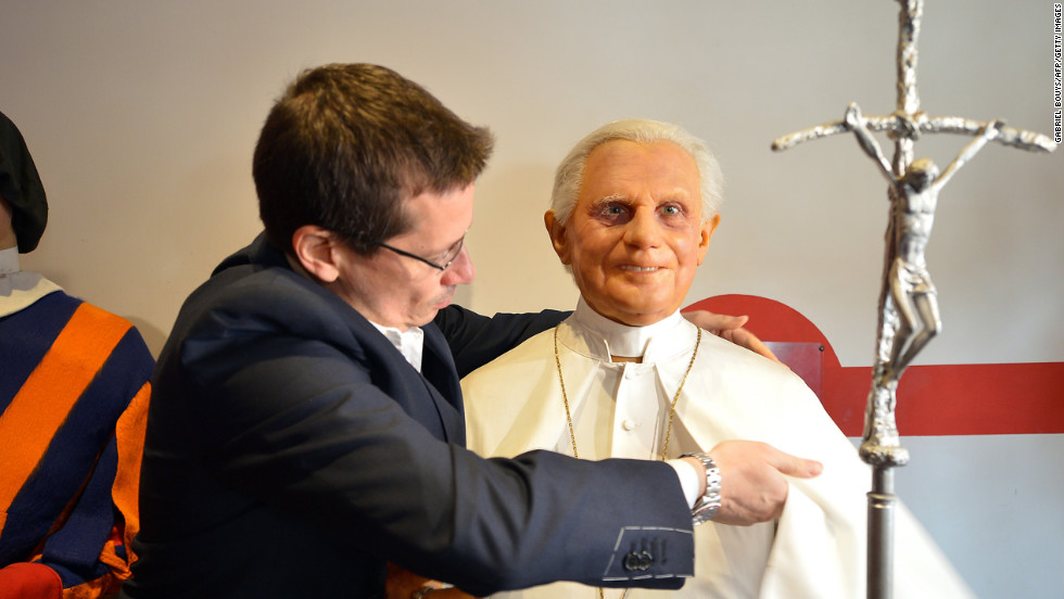 Fernando Canini, administrator of the Museo delle Cere (wax museum), prepares the figure of Pope Benedict XVI at the museum on March 11 in Rome.