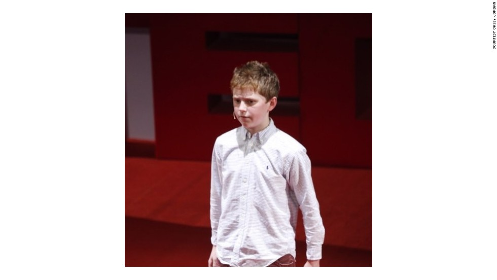 Casey, 13, delivers a presentation at a TEDxYouth event in New Delhi, India. Casey's work has also seen him deliver talks at conferences in France and Germany, and receive commissions to produce games for clients in Brazil.