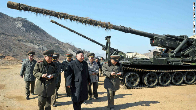 "This undated picture released by North Korea's official Korean Central News Agency on March 12, 2013 shows North Korean leader Kim Jong Un (C) inspecting a long-range artillery sub-unit of Korean People's Army Unit 641 at undisclosed place in North Korea. AFP PHOTO / KCNA via KNS ---EDITORS NOTE--- RESTRICTED TO EDITORIAL USE - MANDATORY CREDIT ""AFP PHOTO / KCNA VIA KNS"" - NO MARKETING NO ADVERTISING CAMPAIGNS - DISTRIBUTED AS A SERVICE TO CLIENTSKNS/AFP/Getty Images"