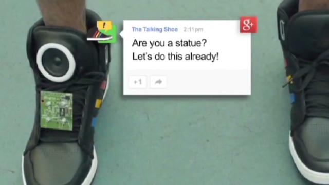Google shoe can talk smack