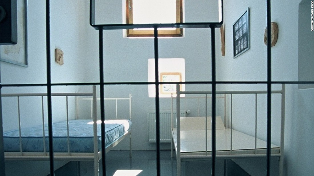 Guests at the Hostel Celica, a former Yugoslavian military prison, sleep in one of 20 artistically redesigned jail cells.