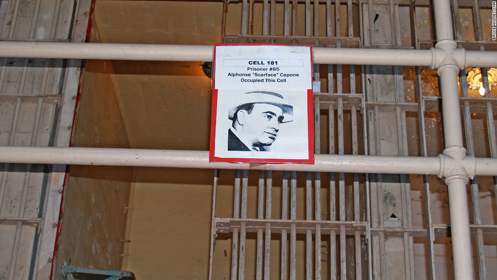 Cell 181 is clearly marked as being once occupied by Al Capone, prisoner number 85.