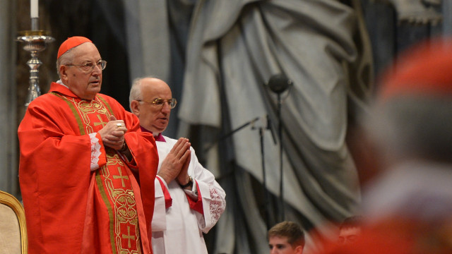 The dean of the College of Cardinals, Angelo Sodano, leads Mass in St Peter's Basilica ahead of a papal election conclave on March 12, 2013.