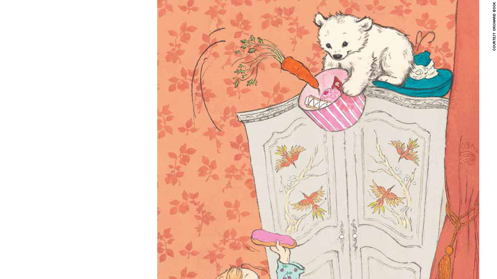 """Vulliamy's story of the """"Bear with Sticky Paws"""" begins when a lovable but mischievous bear turns up on Pearl's doorstep. Throughout the day Pearl and the bear have fun but make a mess of the house. That is, until Pearl's mother returns home."""