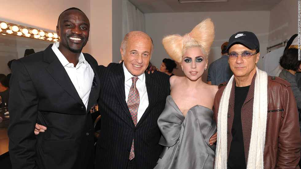 "In 2007 Lady Gaga was signed by Akon and Interscope Records before the release of her 2008 debut album, ""The Fame.""<br />Pictured: Akon, Doug Morris (chairman and CEO of UMG), Lady Gaga and Jimmy Iovine (chairman of Interscope Geffen A&M), in December 2009, New York. <br />"