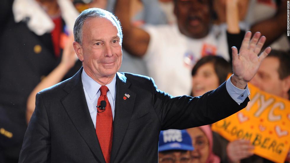 Bloomberg celebrates winning a third term as mayor in November 2009.