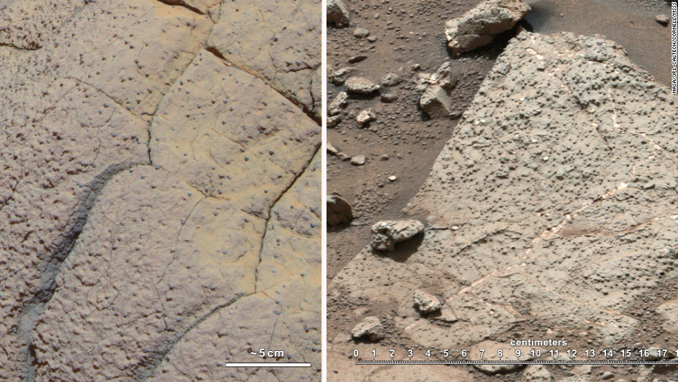 The rock on the left, called Wopmay, was discovered by the rover Opportunity, which arrived in 2004 on a different part of Mars. Iron-bearing sulfates indicate that this rock was once in acidic waters. On the right are rocks from Yellowknife Bay, where rover Curiosity was situated. These rocks are suggestive of water with a neutral pH, which is hospitable to life formation.