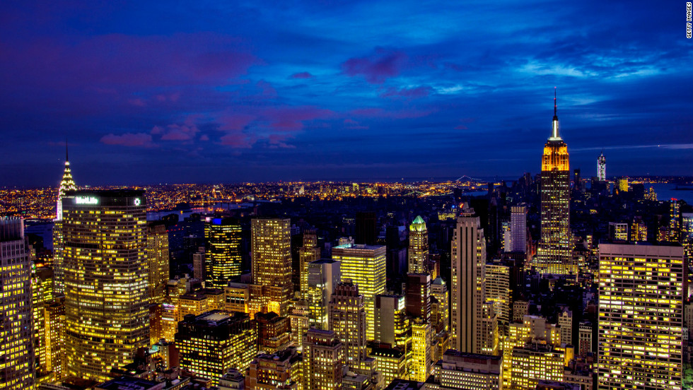 According to a Knight Frank survey of wealth advisers, New York (pictured) and London will remain top destinations for the wealthy until 2023. The global number of high net worth individuals - classified as someone with $30 million or more in net assets -- increased by 8,700, or 5%, in 2012.