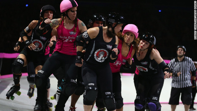 Skaters compete during the Roller Derby Extreme in Melbourne, Australia.