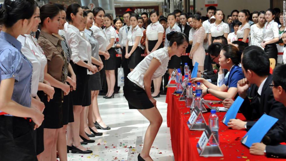Chinese flight attendant hopefuls at an interview for China Southern airlines in Beijing.