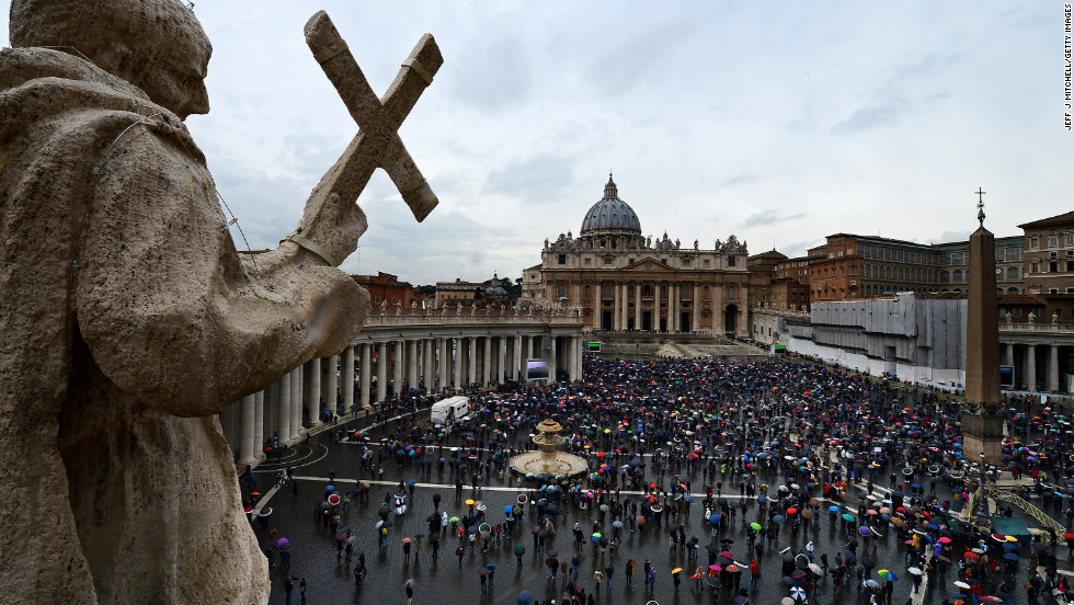 Crowds gather in St. Peter's Square on the second day of the conclave on March 13.