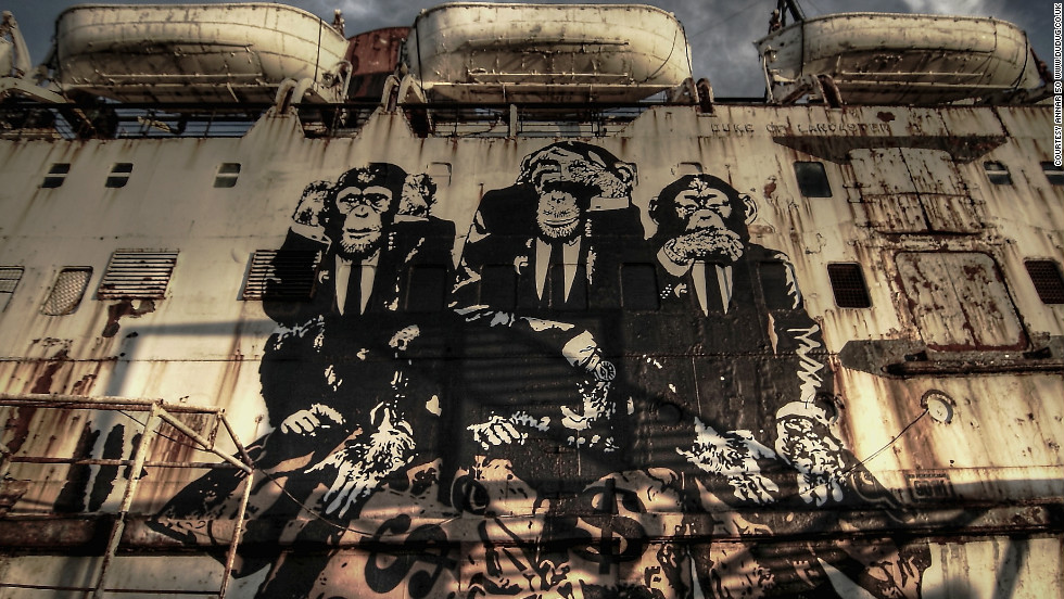 """The 10-meter tall """"Council of Monkeys"""" was created by French artist <a href=""""http://www.goinart.net/"""" target=""""_blank"""">GOIN</a>. Many of the artworks have an anti-authority theme, inspired by the ship owners' struggles with the local council to keep it open."""