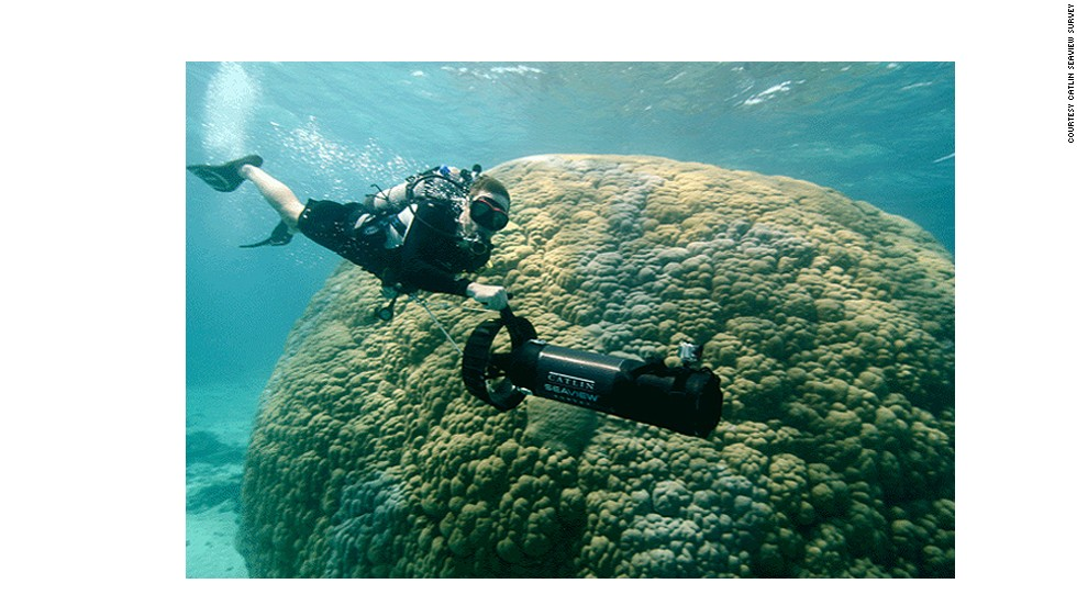 """In Going Green: Oceans, Philippe Cousteau (pictured) joins the Catlin Seaview Survey team as they map the Great Barrier Reef. <a href=""""http://cnn.com/2013/03/22/world/environment-cousteau-oceans-twitter/index.html"""">Watch</a> on Friday March 29 at 15:30 GMT (11:30 ET)."""