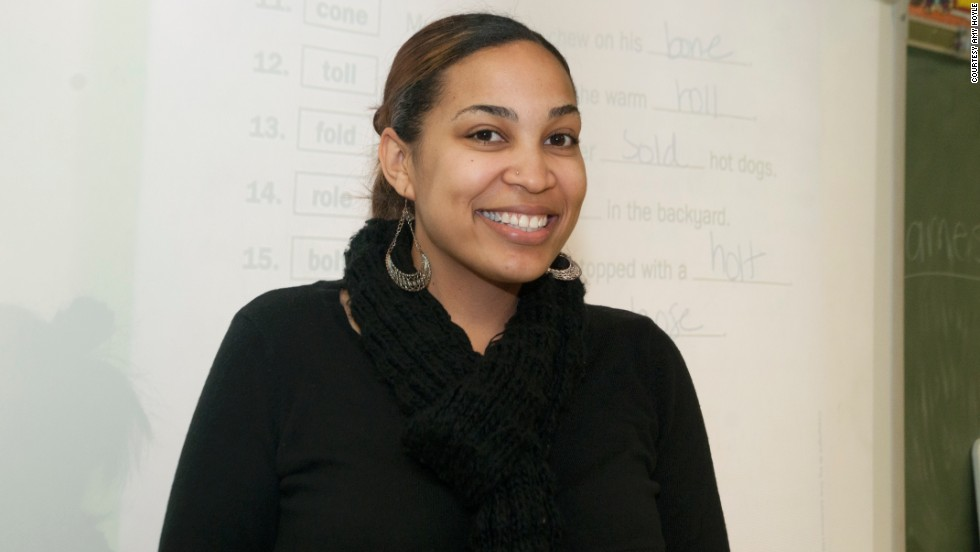 Monette poses for a photo at the start of her job at Woodland West Elementary in October 2012.