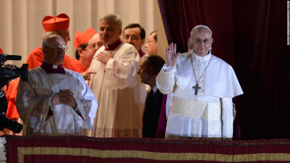 Pope Francis, the Argentinian Cardinal Jorge Mario Bergoglio, appears on the St. Peter's Basilica's balcony after being elected the 266th pope of the Roman Catholic Church on Wednesday, March 13, at the Vatican.