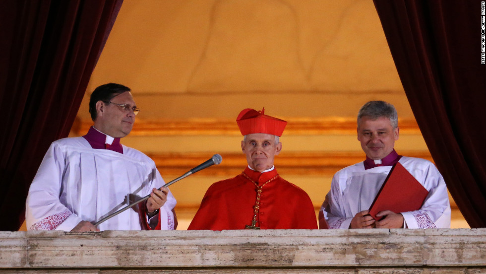 French Cardinal Jean-Louis Tauran, center, announces the new pope.