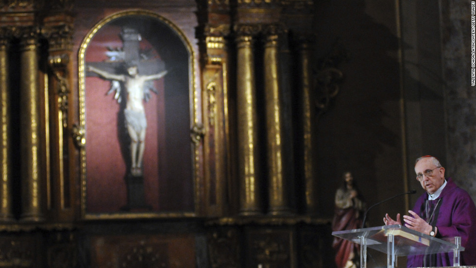 Bergoglio says a Mass in honor of the late ex-President Nestor Carlos Kirchner on October 27, 2010, in Buenos Aires.