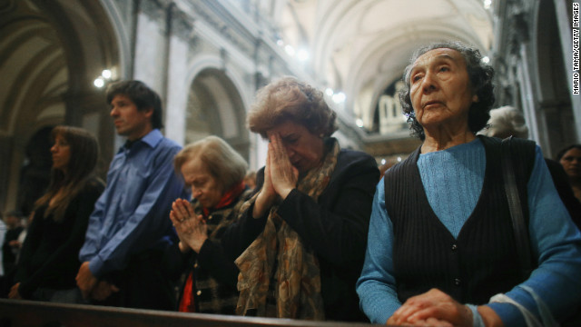 Argentines attend Mass at the Metropolitan Cathedral in Buenos Aires the day after Pope Francis was selected.