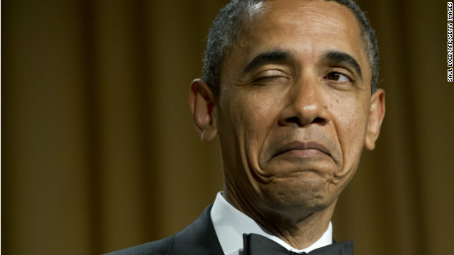 Pres. Obama winks as he tells a joke about his place of birth during the 2012 White House Correspondents' Association Dinner.