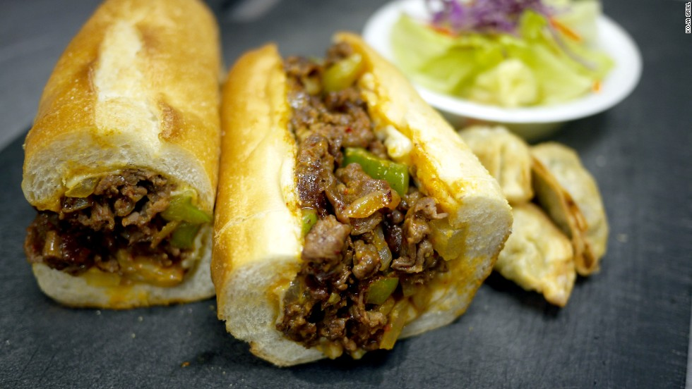 Bulgogi, marinated Korean-style beef, replaces chopped steak. Paired with the traditional melted cheese, onions and peppers it lends an entirely new dimension to an area favorite. Pictured: Bulgogi cheesesteak from Koja Grille in Philadelphia.