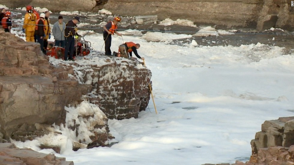 A series of waterfalls runs through the river in the park, creating foam. Officials say the 6-year-old was playing in the foam and perhaps the water itself.