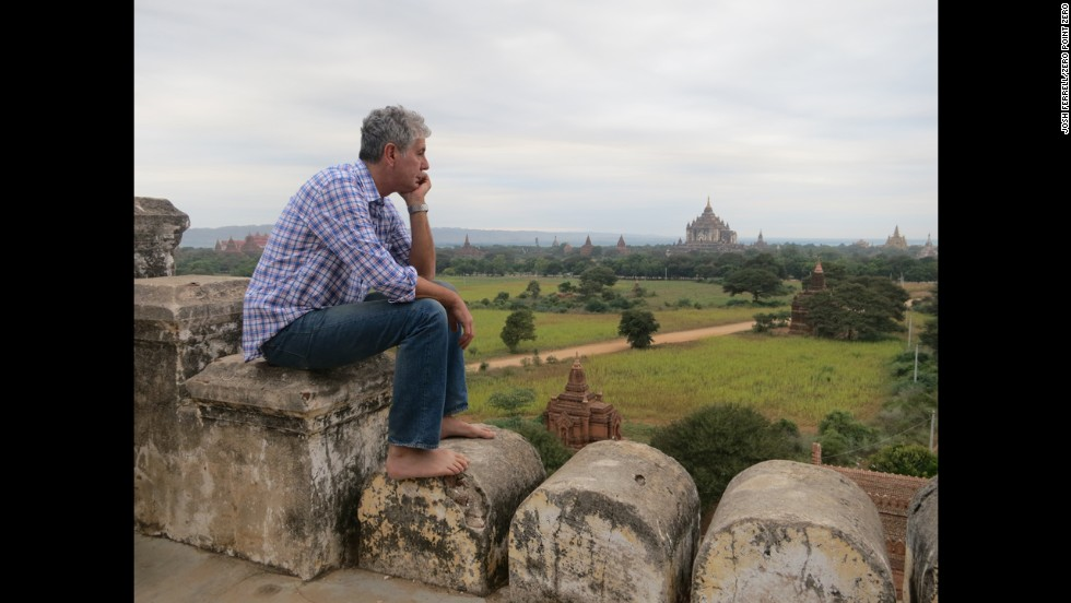 Bourdain at the Shwesandaw Pagoda in Old Bagan.